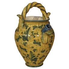 """Antique Majolica Apothecary Jar from Italy, 19th Century """"Chevrette"""""""