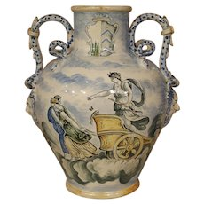 Antique Majolica Urn from Italy, 19th Century
