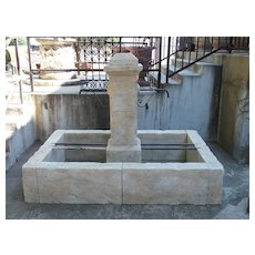Rectangular 2 Spout Limestone Center Fountain from Provence