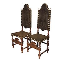 Pair of Antique Oak, Leather, and Brass Side Chairs from Portugal, 19th Century