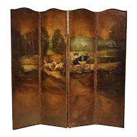 Antique Painted English Four Panel Leather Screen, 19th Century