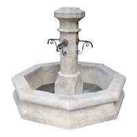 Octagonal Limestone Center Fountain from Provence, France