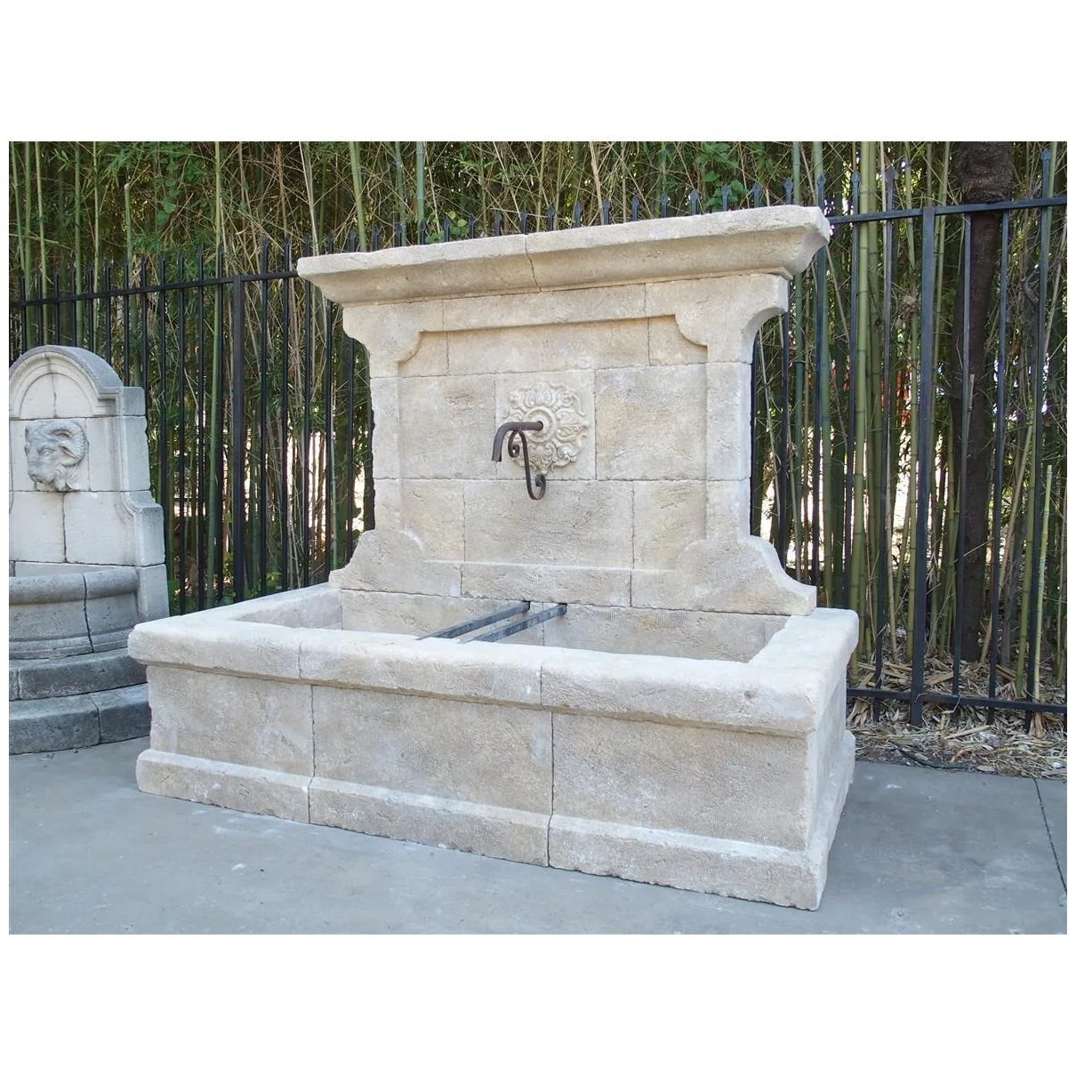 Large French Wall Fountain In Carved