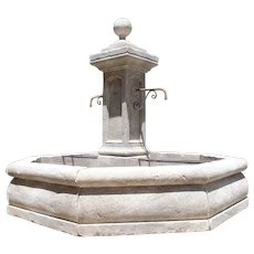 Large Octagonal Limestone Center Fountain from Provence, France