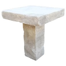 Carved Square Top French Limestone Bistro Table