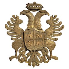 Antique Carved and Gilded Coat of Arms of Toledo Spain, Circa 1900