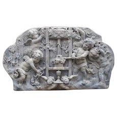 Cast Bas Relief Architectural Depicting Cherubs Making Wine, France