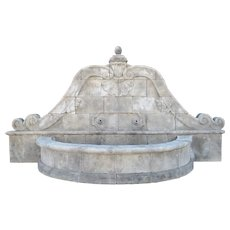 A Grand Hand-Carved Limestone Wall Fountain from Southern Italy