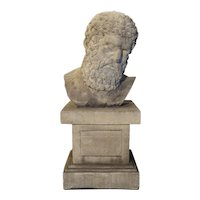 Patinated Cast Stone Bust of Hercules on Short Pedestal Base