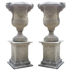 Pair of Large Cast Stone Musical Trophy Vases on Pedestals from France, Approximately 7.5 Feet Tall