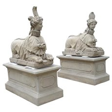 Pair of Large Cast Stone Sphinxes on Pedestal Bases