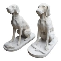 Pair of Large Cast Stone Hunting Dogs from France