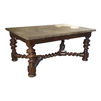 Impressive French Oak Table with Large Turned Legs and Bluestone Top C. 1850