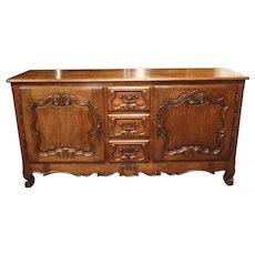 18th Century French Oak Buffet with Center Drawers from Lorraine
