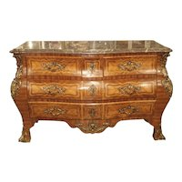 Grand Antique Louis XV Style French Commode with Bronze Mounts and Marble Top