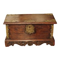 Small 18th Century Dutch Colonial Documents Trunk with Brass Mounts