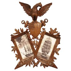 Carved Antique American Double Picture Frame Depicting US Navy Crest