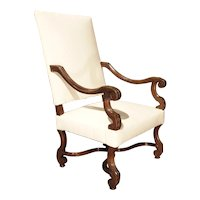Late 19th Century Walnut Wood Fauteuil Armchair from France