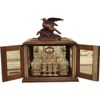 19th Century Black Forest Walnut Wood Cave A Liqueur from France