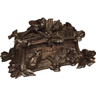 Antique Swiss Carved Black Forest Table Box