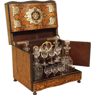 Antique Burlwood Cave a Liqueur with Brass and Mother of Pearl Inlay, Circa 1850