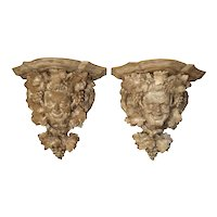 Pair of 18th Century Oak Bacchus Wall Brackets from Chateau de Sauvage, France