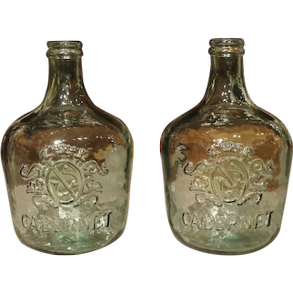 Pair of Decorative Vintage Coat of Arms Demijohn Bottles