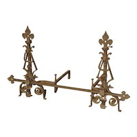 Pair of Large Wrought Iron Fleur De Lys Chenets with Cross Bar