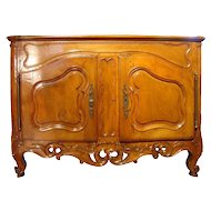 Exceptional Period Louis XV Walnut Wood Nimoise Buffet, circa 1750