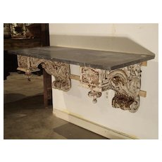 French Antique Brackets Wall Console with Black Marble Top