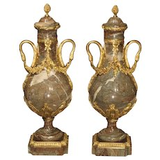 Pair of Circa 1860 Gilt Bronze and Marble Cassolettes from France