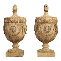 Pair of Neoclassical Style Carved Wooden Half Urns from England