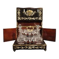 Circa 1850 Napoleon III Cave A Liqueur with Mother of Pearl, Rosewood, and Brass Inlay