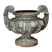 19th Century Cast Iron Enameled Urn from France