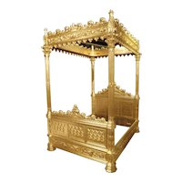 Magnificent Fully Carved Antique French Gothic Bed in 23.5K Gold Leaf, C. 1870