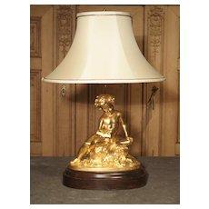 Antique French Gilt Bronze Cherub Lamp on Wooden Base