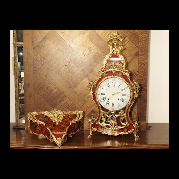 18th Century French Louis XV Cartel Clock, Vernis Etienne Simon Martin