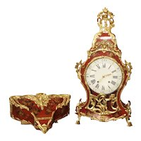 18th Century French Louis XV Cartel Clock, Vernis Etienne Simon Martin