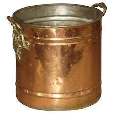 English Copper Wine Bucket with Brass Grape Leaf Handles
