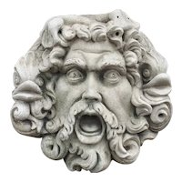 Large and Impressive Italian Carved Neptune Wall Sculpture or Fountain Spout