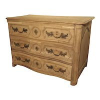 French Louis XIV Bleached Oak Commode with Bronze Sea Horse Pulls