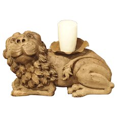 18th Century English Carved Oak Lion Candle Holder