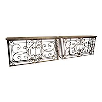 Pair of 19th Century French Iron Balcony Gate Consoles with Bluestone Tops