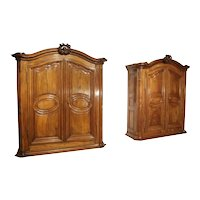 Pair of Early 18th Century Walnut and Olive Wood Armoires from Eastern France