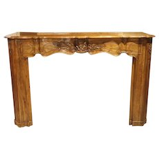 18th Century French Louis XV Walnut Wood Mantel
