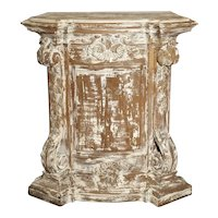 Antique Parcel Paint Louis XV Style Pedestal from Liege, Belgium, Circa 1850