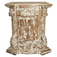 18th Century Parcel Paint Pedestal from Belgium