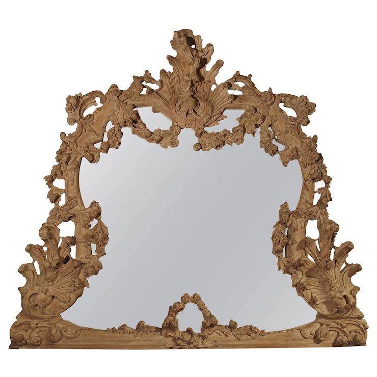 Large Antique Stripped Walnut Wood Rococo Style Mirror Le Louvre French Antiques Ruby Lane