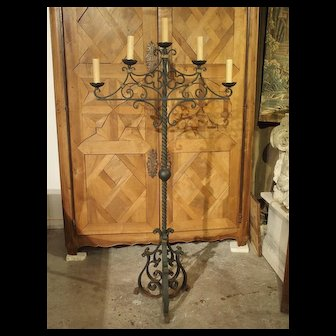 Antique Painted Iron Floor Torchere from France, Early 1900s