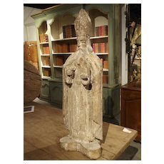 Early 1800s Partially Stripped French Wood Statue of St Martin de Tours